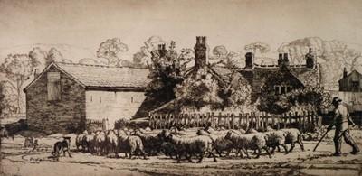 Lot 10 - Charles Frederick Tunnicliffe OBE RA (1901-1979) Herding Sheep at Kemps Croft Farm