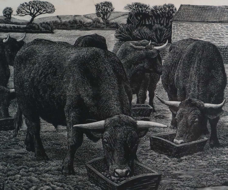 Lot 21 - Charles Frederick Tunnicliffe OBE RA (1901-1979) Bullocks