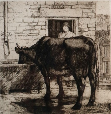 Lot 18 - Charles Frederick Tunnicliffe OBE RA (1901-1979) The Water Trough with Copper Plate