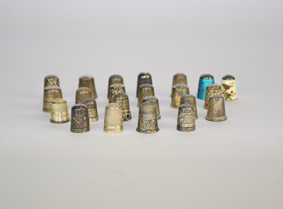 Lot 20 - A collection of twenty-three silver thimbles