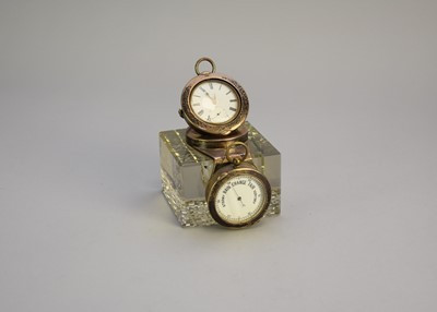 Lot 17 - A silver mounted combination desk timepiece