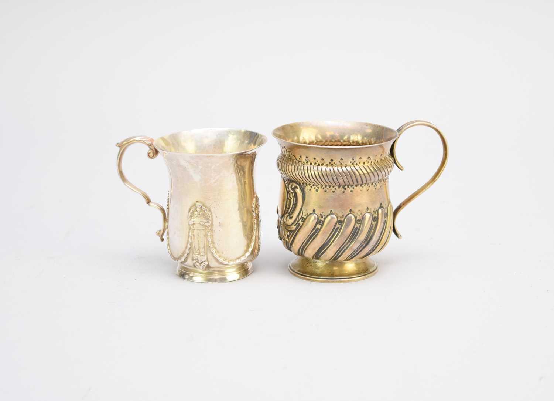 Lot 3 - Two silver Christening mugs