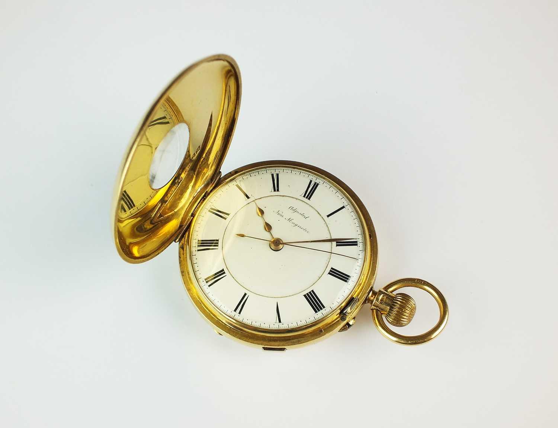 181 - A Gentleman's 18ct gold late 19th century half hunter chronograph pocket watch