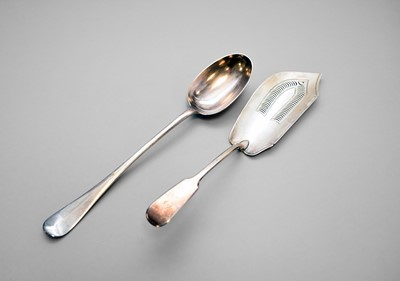 Lot 6 - A silver fish slice and a plated basting spoon