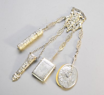 Lot 13 - A white metal chatelaine