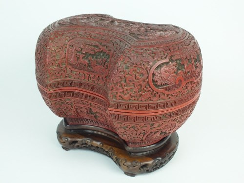 Lot 120-A Chinese cinnabar lacquer ingot form box and...