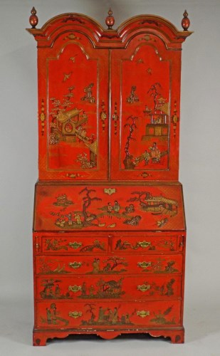 Lot 208 - A 20th century scarlet lacquer, double dome...