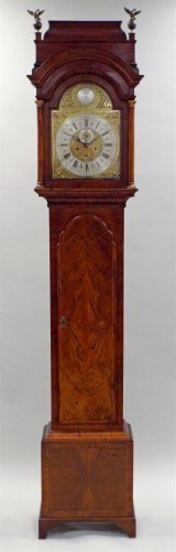 Lot 166-An 18th century walnut eight day longcase clock,...
