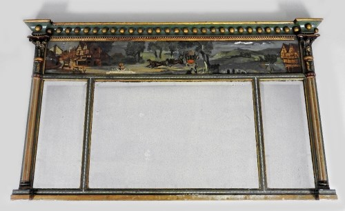 Lot 224-A Regency polychrome and gesso landscape mirror,...