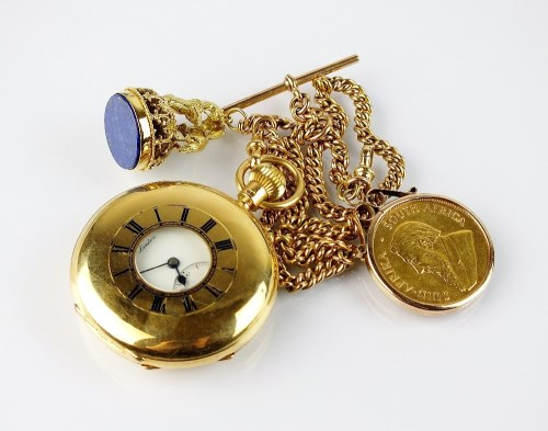 Lot 363-A Gentleman's 18ct gold half hunter pocket watch, ...
