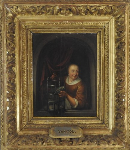 Lot 338-Manner of Gerit Dou (1613-1675) Girl with a caged ...