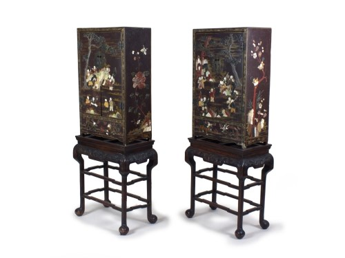 Lot 230-A pair of Chinese hardstone and mother-of-pearl...