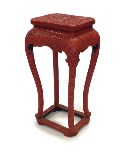 Lot 231-A rare Chinese cinnabar lacquer vase stand, late...