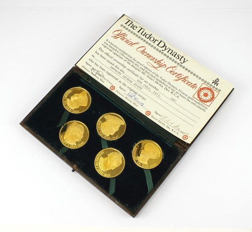 Lot 762-A cased set of five proof 22ct gold medallions,...