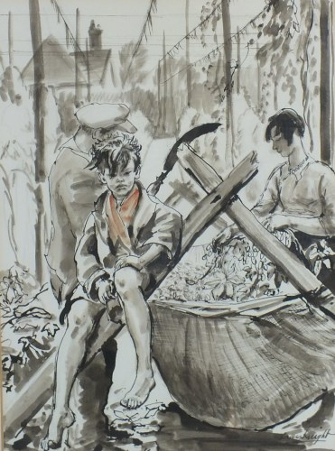 Lot 413-Dame Laura Knight RA (1877-1970), The Hop Pickers,...