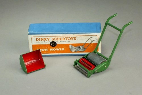 Lot 278 - Dinky 751 Lawn Mower, in green and red with